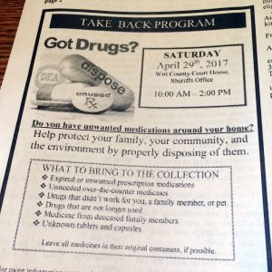 A drug take-back program ad in a newspaper
